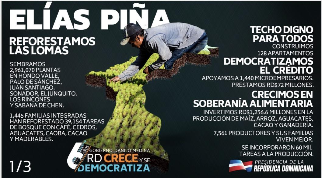 Elías Piña crece y se democratiza con reforestación, Jornada Escolar Extendida, obras para bienestar de la gente y Visitas Sorpresa