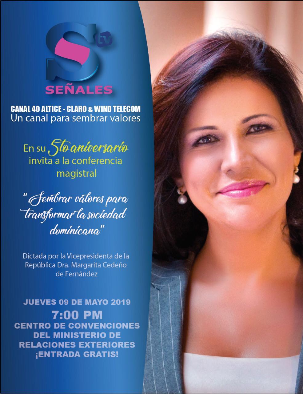 Vice Margarita Cedeño dictará conferencia sobre valores en aniversario de Señales TV, de Euri Cabral y Zinayda Rodríguez